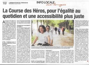 Article de Presse sur ma participation a la course des héros