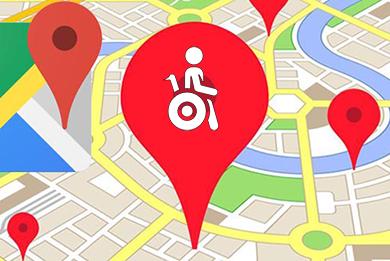 Google lieu accessible fauteuil roulant
